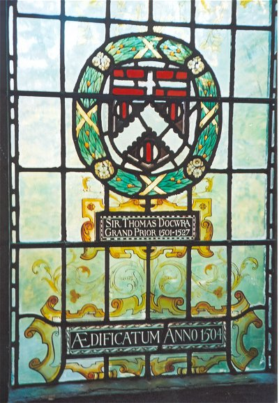 Arms of Sir Thomas Docwra in stained glass