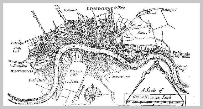 Map showing the area covered by the London Penny Post.
