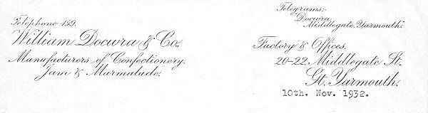 Letterheading from William Docwra, Great Yarmouth.